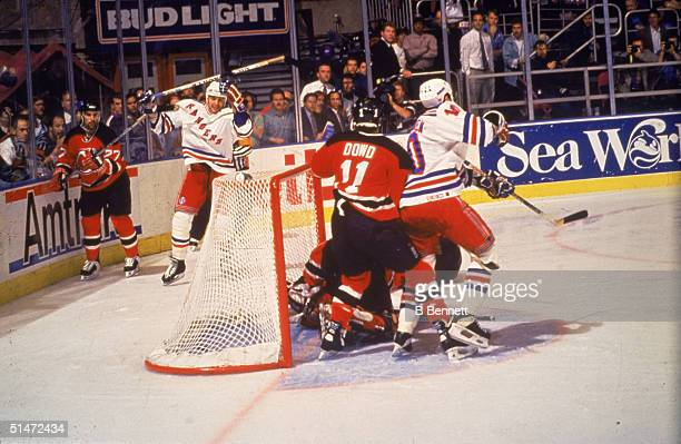 Canadian ice hockey player Stephane Matteau of the New York Rangers scores the winning goal during the second overtime period of the 7th game of the...