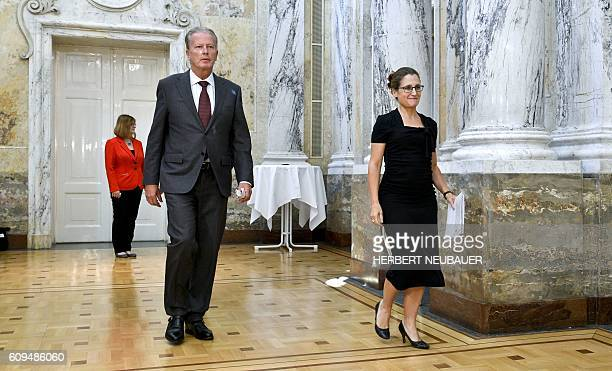 Canadian International Trade Minister Chrystia Freeland and Austrian Vice Chancellor and Minister of Science and Economy Reinhold Mitterlehner arrive...