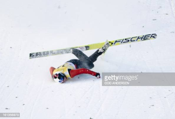 Canadian jumper MacKenzie BoydClowes crashes during a show jump after the cancellation of the FIS Ski Jumping World Cup individual large hill...