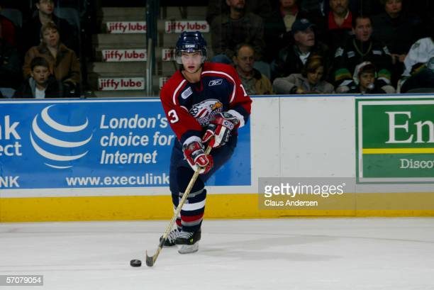 Canadian junior professional hockey player Matt Corrente of the OHL's Saginaw Spirit skates on the ice during a road game against the London Knights...