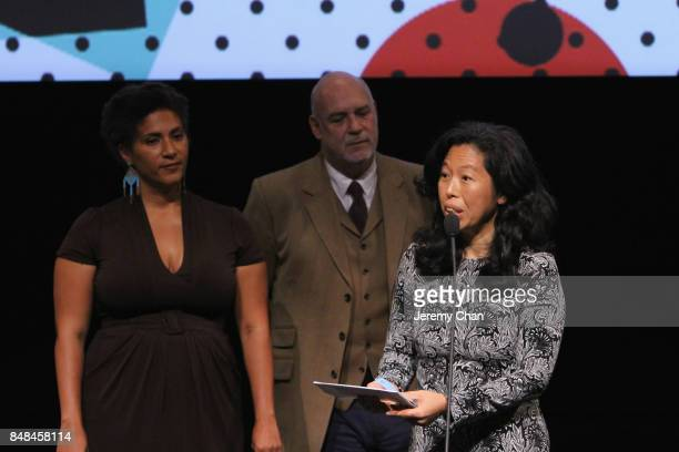Canadian Jury member Min Sook Lee presents director Wayne Wapeemukwa with The City of Toronto Award for Best Canadian First Feature Film for...