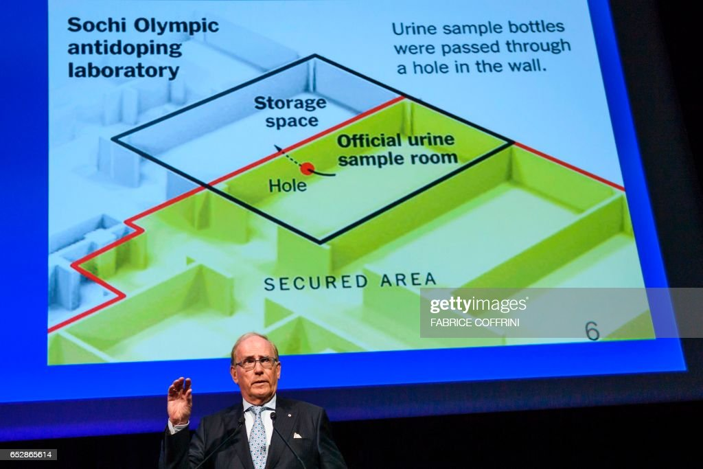 Canadian lawyer Richard McLaren, who produced a report for the World Anti-Doping Agency (WADA) which claimed that Russia had orchestrated state-sponsored doping at the 2014 Sochi Winter Olympics, addresses the WADA Annual Symposium in Lausanne on March 13, 2017. Russia still has 'significant work' before its scandal tainted anti-doping operation regains global recognition, WADA chief Craig Reedie warned. The World Anti-Doping Agency chief said Russia's national agency had not proved it was shielded against 'outside interference.' / AFP PHOTO / Fabrice COFFRINI