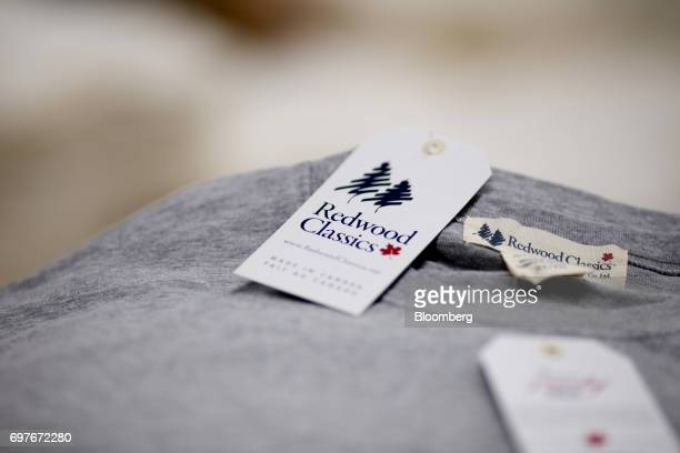 A Canadian maple leaf is seen on a Redwood Classics brand clothing tag at at the WS Co production facility in Toronto Ontario Canada on Friday June 9...