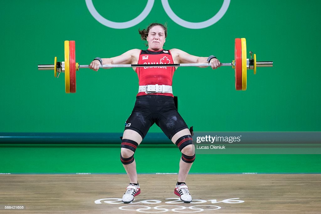 Canadian MarieEve BeaucheminNadeau competes in the snatch portion of the women's 69kg weightlifting competition at the 2016 summer Olympic Games in...
