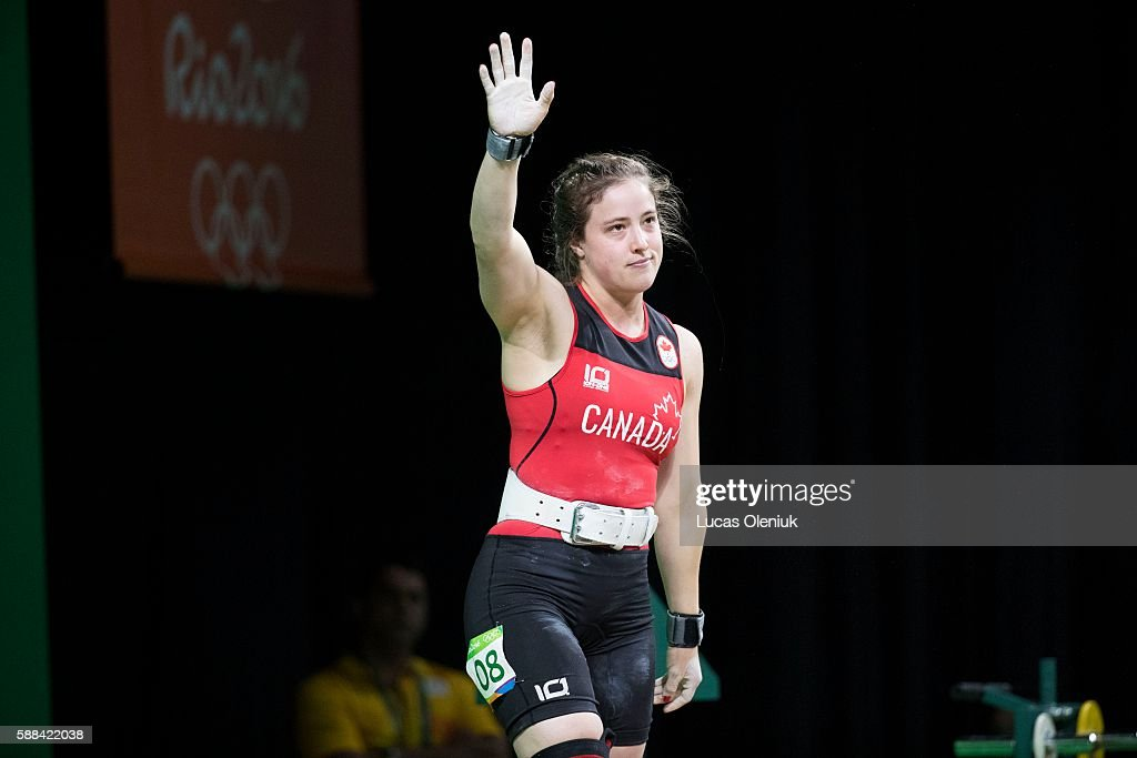 Canadian MarieEve BeaucheminNadeau thanks the crowd after competing in the clean and jerk portion of the women's 69kg weightlifting competition at...