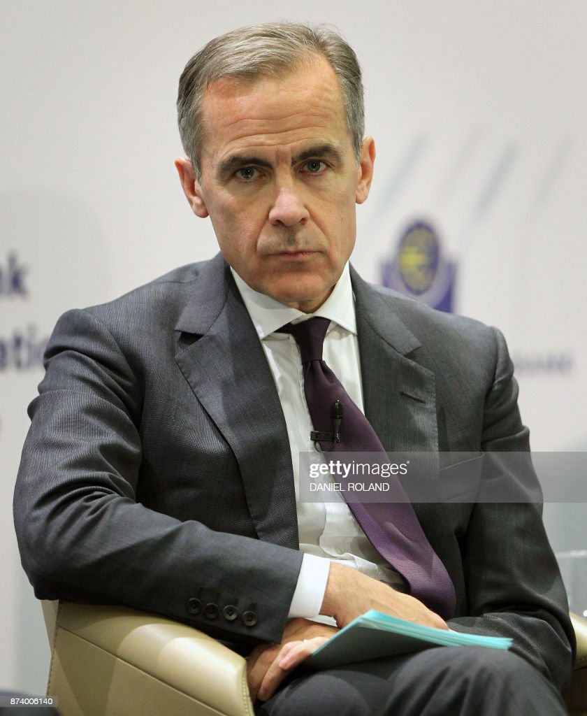 Canadian Mark Carney, the governor of the Bank of England, attends a conference titled 'Communications Challenges for Policy Effectiveness' organised by the European Central Bank (ECB) at the ECB headquarters in Frankfurt am Main, western Germany, on November 14, 2017. / AFP PHOTO / Daniel ROLAND