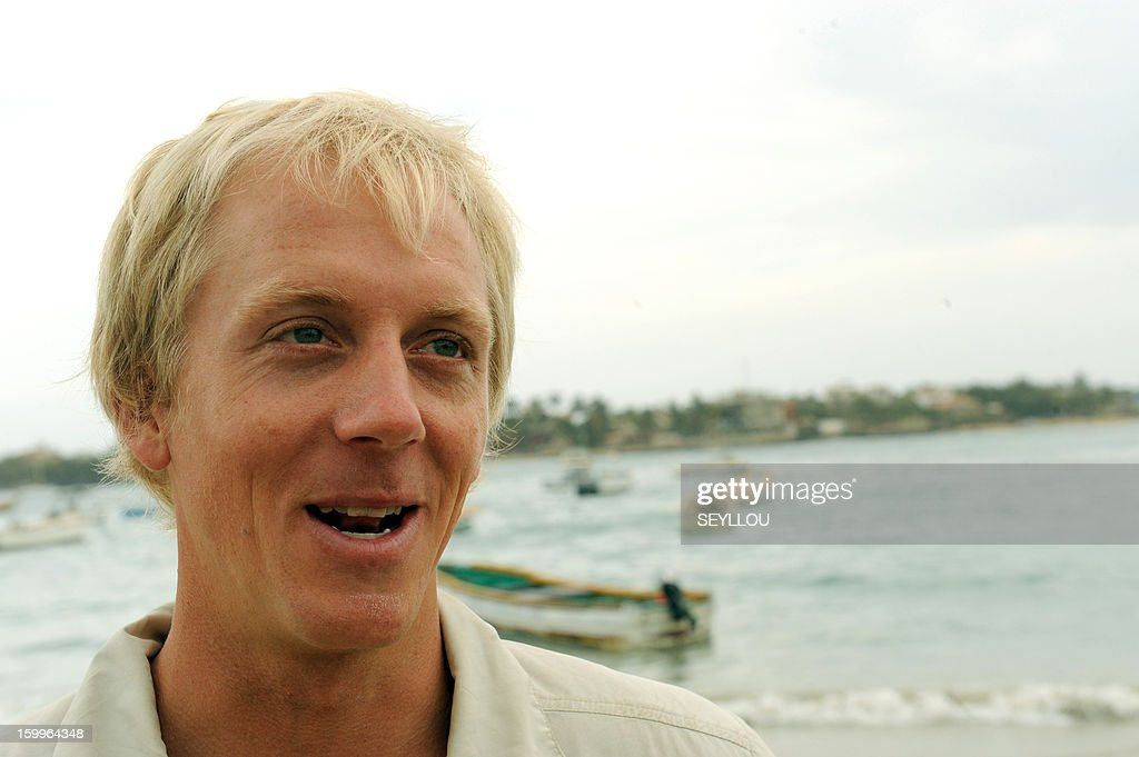 Canadian Markus Pukonen poses on January 23, 2012 on Ngore beach outside Dakar before attempting to row 6,700 kms across the Atlantic to reach Miami, Florida, aboard an 8.8 meter long boat. Pukonen and American Pat Flemming, American Jordan Hanssen and Canadian Adam Kreek hope to arrive in Miami before World Water Day on March 22.