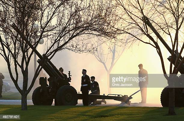 Canadian Military fire a 21 Gun Salute in honour of Camilla Duchess of Cornwall and Prince Charles Prince of Wales outside the Legislative Chamber...