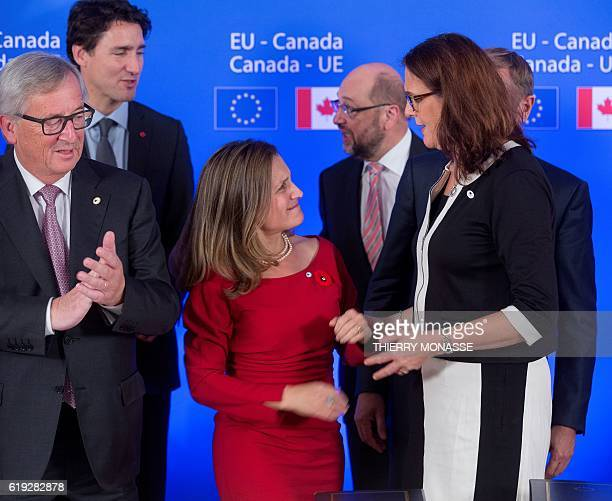 Canadian Minister of International Trade Chrystia Freeland and European Trade Commissioner Cecilia Malmstrom speak during the ceremony of the signing...