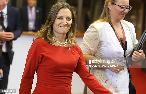 Canadian Minister of International Trade Chrystia Freeland arrives for the EUCanada summit meeting on October 30 2016 at the European Union...