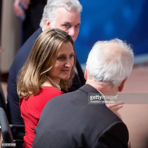 Canadian Minister of International Trade Chrystia Freeland speaks during the ceremony of the signing of the Comprehensive Economic and Trade...