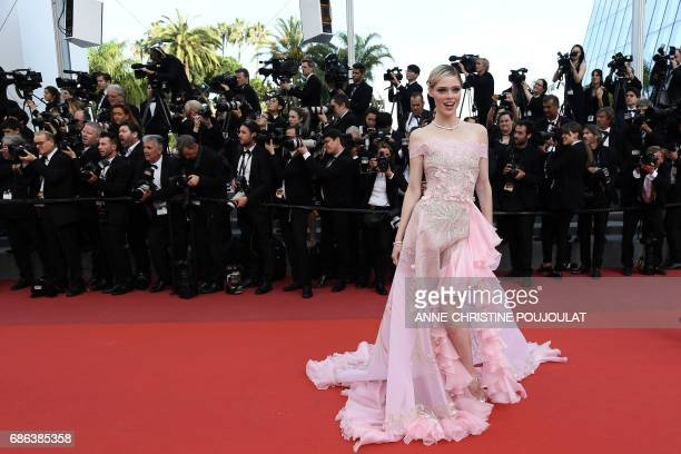 Canadian model Coco Rocha poses as she arrives on May 21 2017 for the screening of the film 'The Meyerowitz Stories ' at the 70th edition of the...