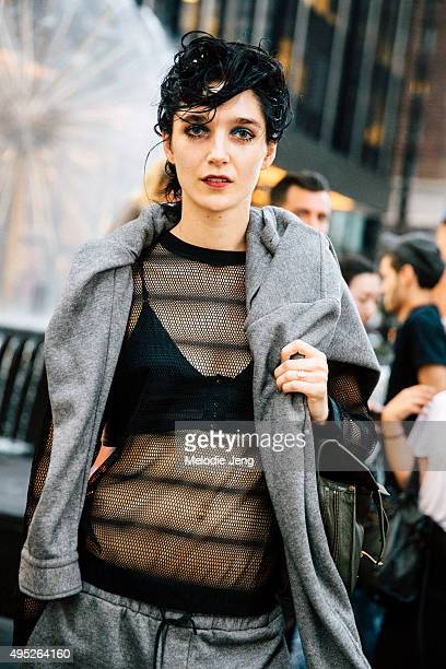Canadian model Janice Alida exits the Marc Jacobs show at Ziegfeld Theater on September 17 2015 in New York City Janice keeps the greasy 'morning...