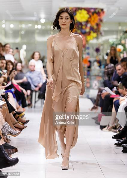 Canadian model Janice Alida walks the runway during 'Walk For Water Fashion Show' presented by Holt Renfrew x Obakki at Holt Renfew on May 10 2016 in...