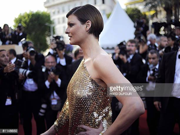Canadian model Linda Evangelista poses as she arrives to attend the screening of US director Steven Spielberg's film 'Indiana Jones and the Kingdom...