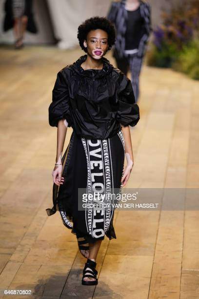 Canadian model Winnie Harlow presents a creation during the HM STUDIO SS17 SpringSummer 2017 readytowear collection fashion show on March 1 2017 in...