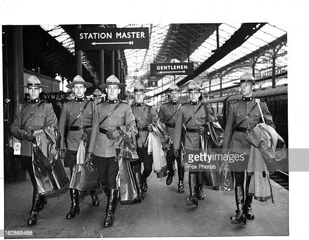 Canadian Mounties arrive at Euston Station in London 4/11/57