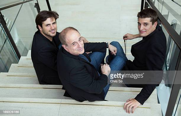 Canadian music producer Bob Ezrin is flanked by Stjepan Hauser left and Luca Sulic right of 2Cellos at The Royal Conservatory of Music in Toronto...