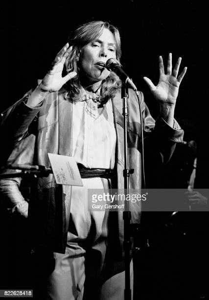 Canadian musician Joni Mitchell performs on stage at Studio 54 New York New York April 2 1982 The performance was part of a benefit concert for Jazz...