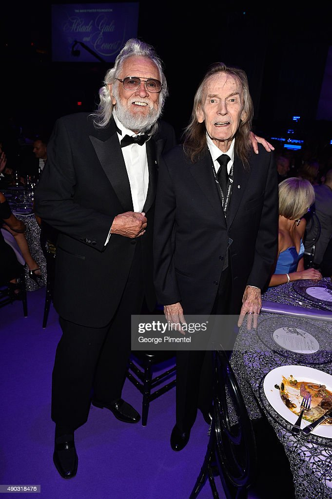 Canadian Musicians Ronnie Hawkins and Gordon Lightfoot attend the David Foster Foundation Miracle Gala And Concert held at Mattamy Athletic Centre on September 26, 2015 in Toronto, Canada.