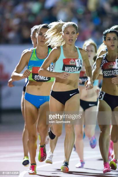 Canadian Olympian Natasha Wodak leads the pack early in the women's 5000m at the Canadian Track and Field Championships on July 6 2017 at the Terry...