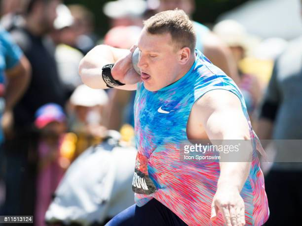 Canadian Olympian Tim Nedow throwing to victory in the Shot Put at the Canadian Track and Field Championships on 9 July 2017 at the Terry Fox...