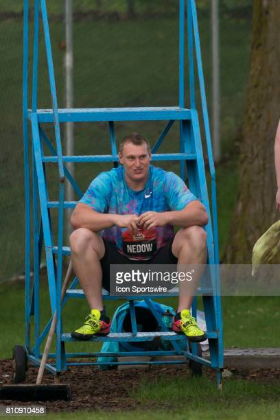 Canadian Olympic shot putter Tim Nedow relaxing between rounds in the discus he finished second at the Canadian Track and Field Championships onJuly...