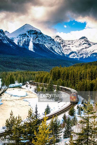 Canadian Pacific Railway Train through Banff National Park Canada