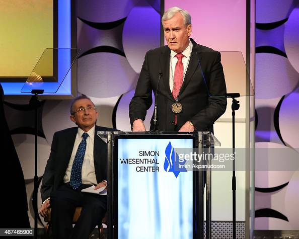 Canadian parliamentarian sergeantatarms Kevin Vickers accepts the Simon Wiesenthal Center Medal of Valor onstage at the Simon Wiesenthal Center 2015...