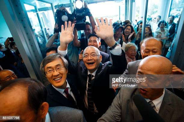 Canadian pastor Hyeon Soo Lim arrives at his church in Mississauga Canada on August 13 2017 after being freed from a North Korean labour camp last...