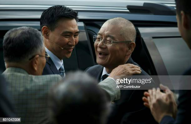 Canadian pastor Hyeon Soo Lim is swarmed as he arrives at the Light Korean Presbyterian Church in Mississauga on August 13 2017 after being freed...