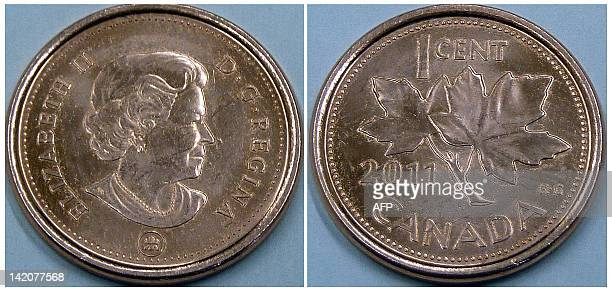 A Canadian penny is pictured on March 29 2012 in Montreal Canada The Canadian government announced March 29 2012 the withdrawal of the Canadian penny...
