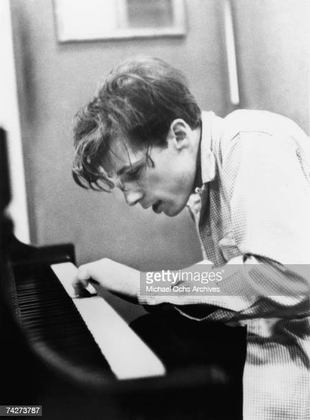 Canadian pianist Glenn Gould records The Goldberg Variations in the Columbia Records 30th Street studio in Manhattan in June 1955 in New York City...