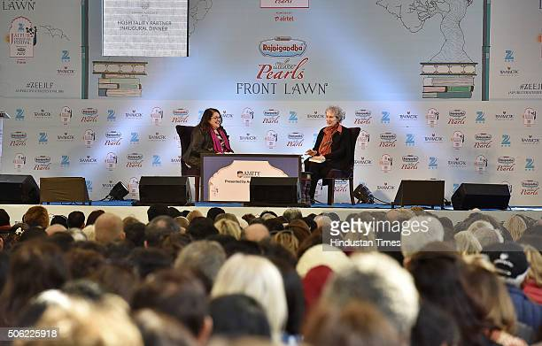 Canadian poet and novelist Margaret Atwood and British novelist Naomi Alderman during the session 'The Heart Goes Last' at Jaipur Literature Festival...