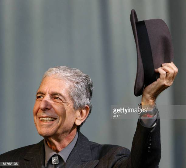 Canadian poet Leonard Cohen performs at the Glastonbury Festival at Worthy Farm Pilton in Glastonbury on June 29 2008 Cohen and Neil Diamond are the...