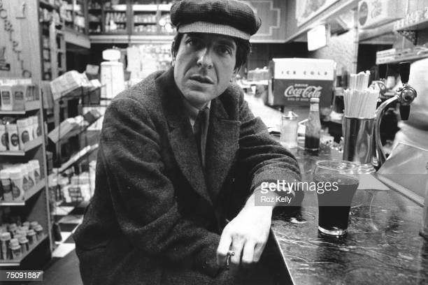 Canadian poet singersongwriter and novelist Leonard Cohen poses for a portrait in a diner in New York New York circa 1968