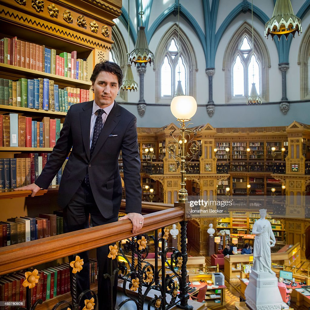 Canadian politician and the leader of the Liberal Party of Canada, <a gi-track='captionPersonalityLinkClicked' href=/galleries/search?phrase=Justin+Trudeau&family=editorial&specificpeople=2616495 ng-click='$event.stopPropagation()'>Justin Trudeau</a> is photographed for Vanity Fair Magazine on April 1, 2014 in the Library of Parliament in Ottawa, Ontario, Canada.