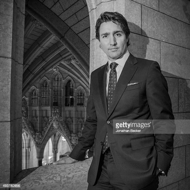 Canadian politician and the leader of the Liberal Party of Canada Justin Trudeau is photographed for Vanity Fair Magazine on April 1 2014 in the...