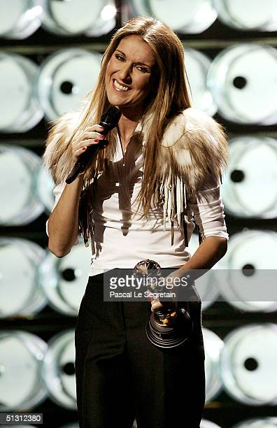 Canadian pop diva Celine Dion receives the Diamond Award a special honor for being the topselling female artist of all time during the 2004 World...