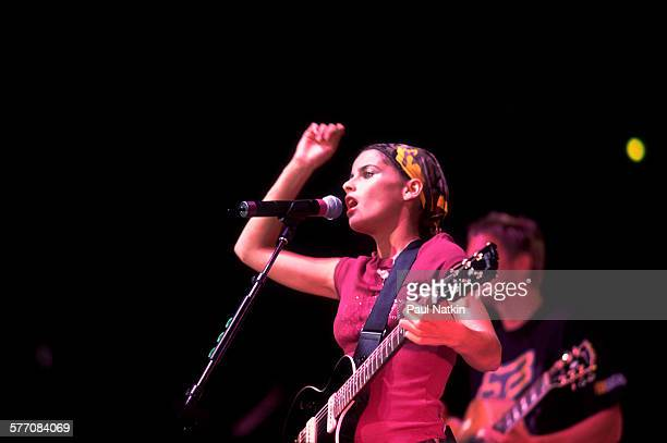 Canadian Pop musician Nelly Furtado performs onstage at the World Music Theater Tinley Park Illinois August 2 2001