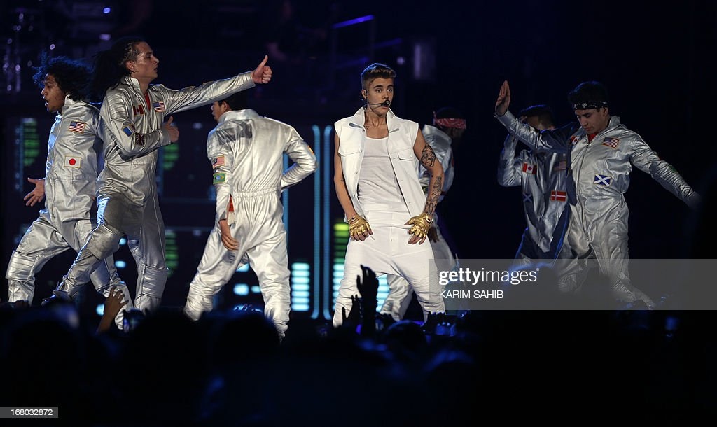 Canadian pop star Justin Bieber, 19-years-old, performs in front of a crowd of 15,000 fans at the Sevens Stadium in Dubai, on May 4, 2013. This is Bieber's first visit to the UAE.