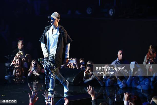Canadian pop star Justin Bieber on stage during a concert on 29 October 2015 in Oslo Norway Bieber walked off the stage after just one song leaving...