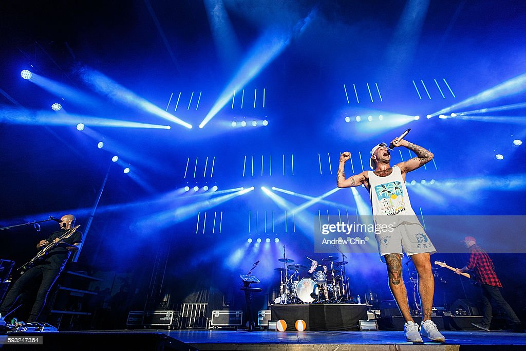 Canadian poprock group Hedley performs onstage during KiSS RADiO's Wham Bam at PNE Amphitheatre on August 20 2016 in Vancouver Canada