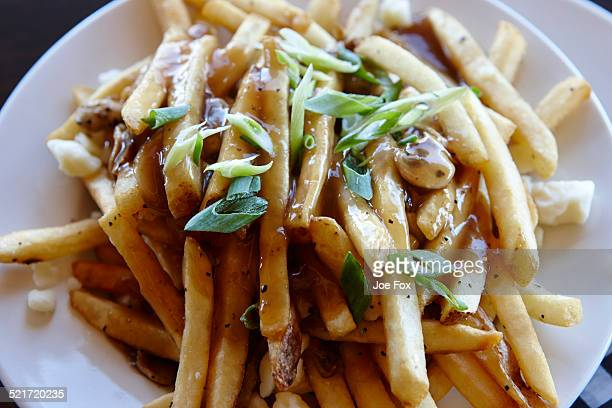Canadian poutine fries with gravy cheese