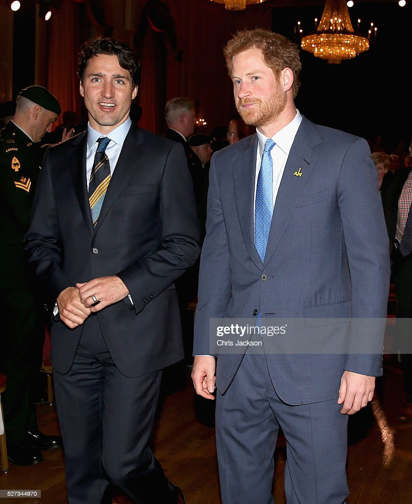 Canadian Prime Minister Justin and Prince Harry at the Launch of Invictus 2017 Toronto at the Fairmont Royal York Hotel on May 2, 2016 in Toronto, Canada. Prince Harry is in Toronto for the Launch of the 2017 Toronto Invictus Games before heading down to Miami and the 2016 Invictus Games in Orlando.