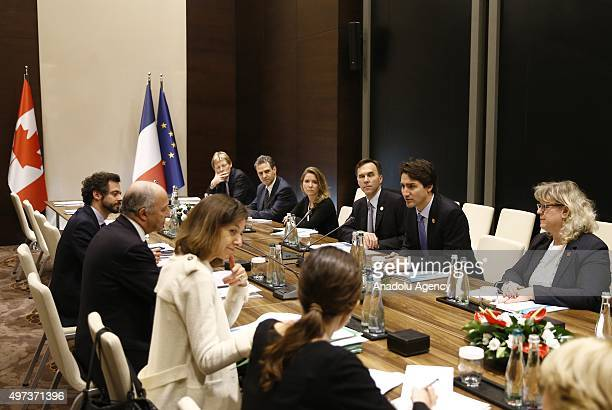 Canadian Prime Minister Justin Trudeau and French Foreign Minister Laurent Fabius hold a bilateral meeting on day two of the G20 Turkey Leaders...