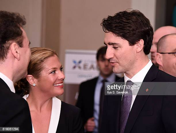 Canadian Prime Minister Justin Trudeau and his wife Sophie GregoireTrudeau attend the Catalyst Awards Dinner at Waldorf Astoria Hotel on March 16...