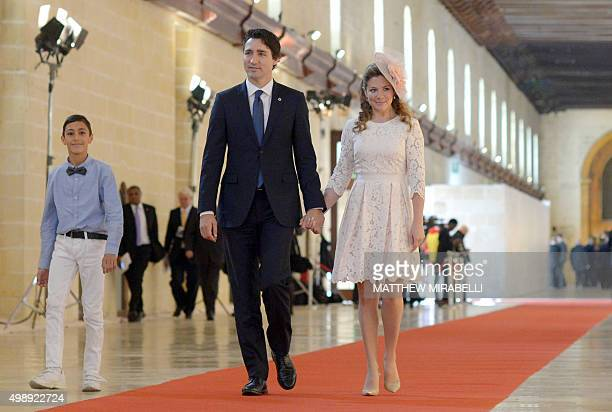 Canadian Prime Minister Justin Trudeau and his wife Sophie Gregoire for the opening ceremony of the Commonwealth Heads of Government Meeting at the...