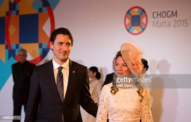 Canadian Prime Minister Justin Trudeau and his wife Sophie Gregoire arrive at CHOGM opening ceremony at the Mediterranean Conference Centre on...