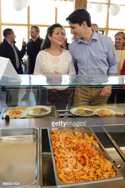 Canadian Prime Minister Justin Trudeau and his wife Sophie Gregoire had lunch with traditional pasta 'Amatriciana' during a visit at the...
